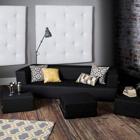 Jaxx Zipline Denim Convertible Sleeper Sofa and Ottomans