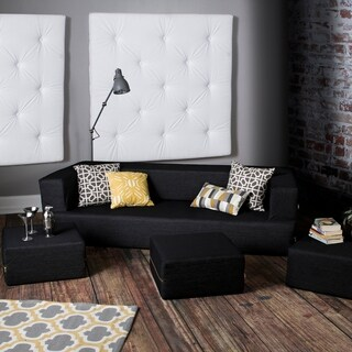 Jaxx Zipline Denim California King Convertible Sleeper Sofa And Ottomans