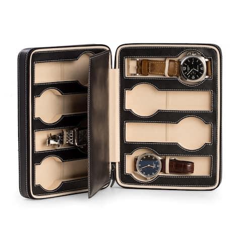 Bey Berk Black 8.25-inch x 7-inch Leather 8 Watch Travel Case