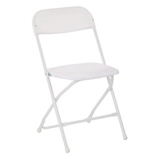 Plastic Folding Chair with White Powder Coated Frame, 2-pack
