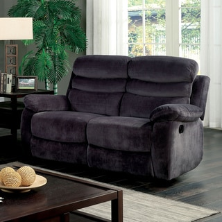 Furniture of America Reanold Transitional Grey Tufted Fabric Reclining Loveseat