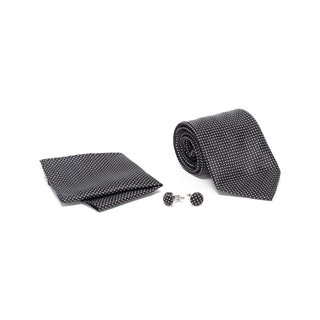 Men's Tie with Matching Handkerchief and Hand Cufflinks-White Dottted On Black
