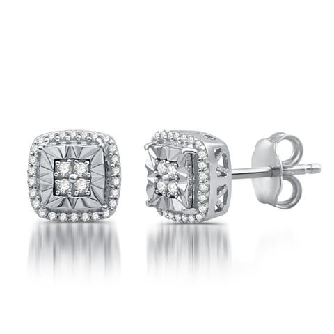 1/4 CTTW Diamond Cushion Shape Stud Earrings In Sterling Silver (I/J - I2/I3)