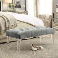 Agnes Velvet Button-tufted Ottoman Bench With Nailhead trim