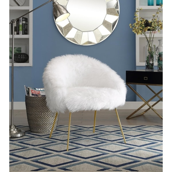 Shop Belle White Faux Fur Accent Chair With Metal Legs