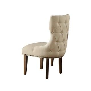 Inverness Beige Linen Fabric Nailhead Trim Chair