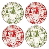 Certified International  Winter Field Notes Toile Canape Plates (Set of 4)
