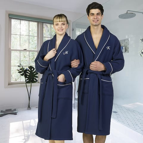 Authentic Hotel and Spa Navy Blue Unisex Turkish Cotton Waffle Weave Terry Bath Robe with White Script Monogram