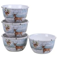 Certified International Winter's Lodge  Ice Cream Bowl (Set of 4)