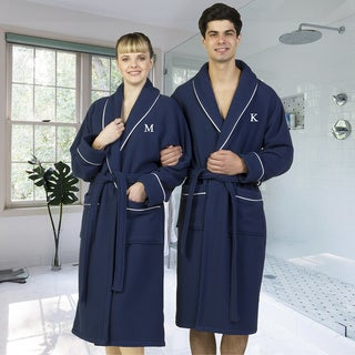 Authentic Hotel and Spa Navy Blue Unisex Turkish Cotton Waffle Weave Terry Bath Robe with White Block Monogram