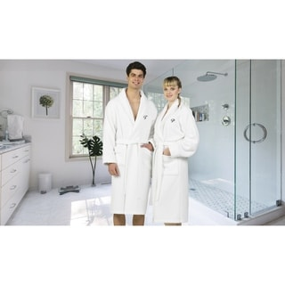 Authentic Hotel and Spa White Unisex Turkish Cotton Waffle Weave Terry Bath Robe with Black Script Monogram