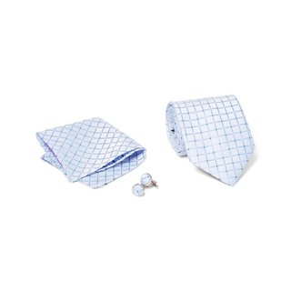 Men's Tie with Matching Handkerchief and Hand Cufflinks-Pink and Black Dotted Sky Blue Box