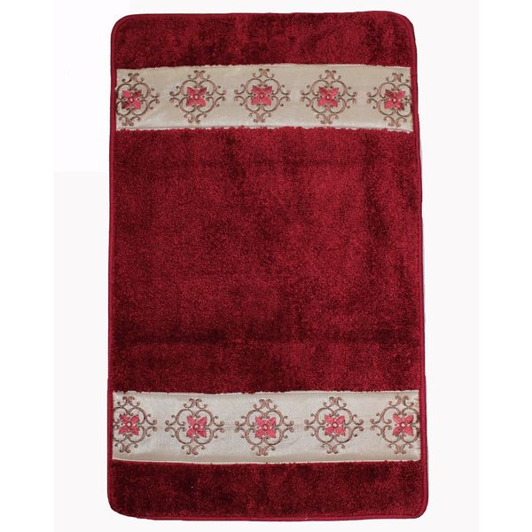 Red Burgundy Super Soft Latex Backing Non-Slip Bath Rug (18'' x 30'')