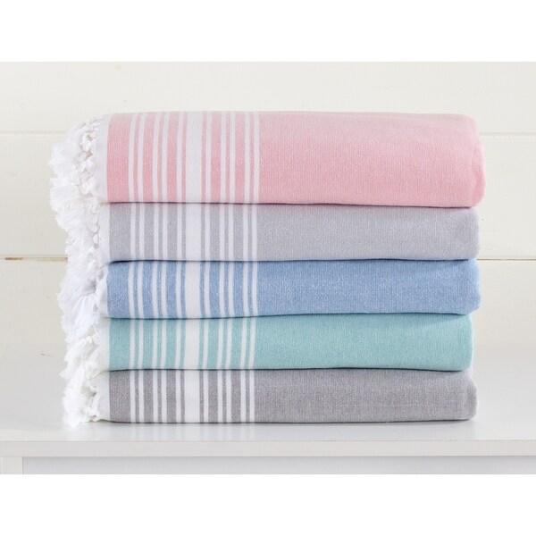 Home Fashion Designs Blossom Linens 100% Cotton Beach Towel with Elegant Fouta Design