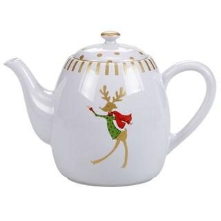 Certified International Gold Dancing Reindeer Teapot 40 oz.