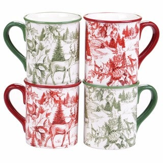 Certified International Winter Field Notes 16 ozToile Mug Set of 4