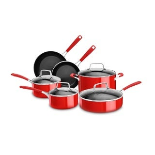 KitchenAid Stainless Steel 10 Piece Set, Candy Apple Red