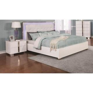 Giula White Chrome/Leather/Wood 3-piece Bedroom Set