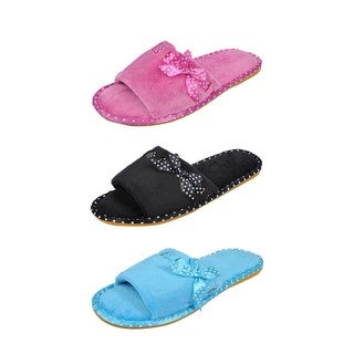 Spring River Colorful Women's 3-Pack fluffy Side Ribbon flip flop