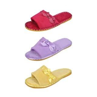 Spring River Colorful Women's 3-Pack fluffy Side Ribbon flip flop