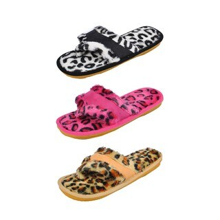Spring River Colorful Women's 3-Pack fluffy Leopard Print flip flop