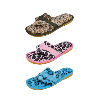 Spring River Colorful Women's 3-Pack fluffy Leopard Print flip flop (2 options available)