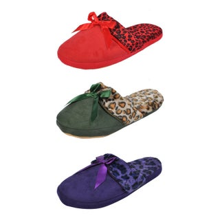 Spring River Colorful Women's 3-Pack fluffy Closed Toe Slipper (Option: Large - Purple)