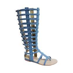 Women's Penny Loves Kenny Copa Gladiator Sandal Boot Blue Denim Fabric