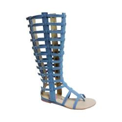 Women's Penny Loves Kenny Copa Gladiator Sandal Boot Blue Denim Fabric