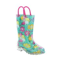 Girls' Western Chief Anabelle Lighted Rain Boot Aqua Multi