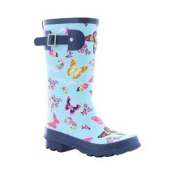 Girls' Western Chief Classic Tall Rain Boot Sky Blue Butterfly