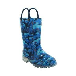 Children's Western Chief Shark Chase Lighted Rain Boot Blue