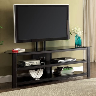 Furniture of America Leban Contemporary Powder Coated Black TV Console with Mount Bracket