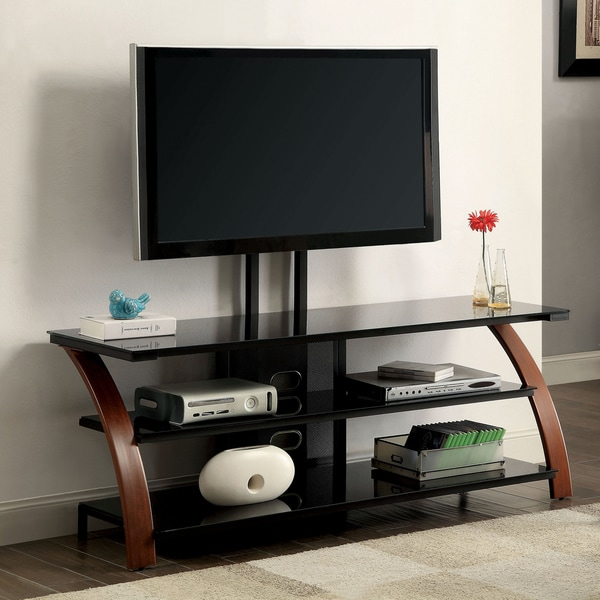 Furniture Of America Zelena Contemporary Style Two Tone Oak Black Tv Stand With Mount