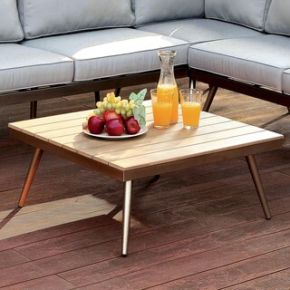 Furniture of America Yulee Contemporary Outdoor Plank Style Brushed Champagne Coffee Table
