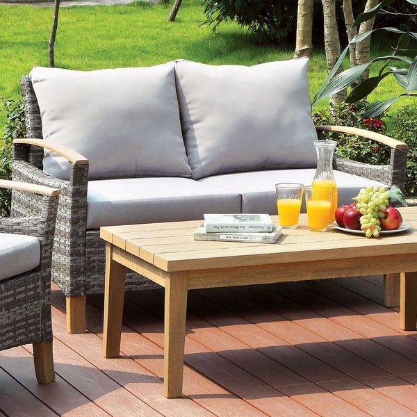 Shop Furniture Of America Malone Grey Wicker Aluminum