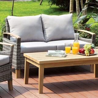 Furniture of America Malone Grey Wicker/Aluminum Contemporary Outdoor Loveseat