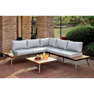 Furniture of America Yulee Contemporary Outdoor L-shaped Plank Style Brushed Champagne Sectional