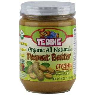 Teddie Organic All Natural Peanut Butter, Creamy 16 Ounce Jar (2 options available)