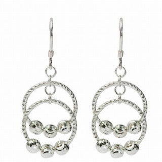 """De Buman Sterling Silver Dangle """"Rings"""" Earrings"""