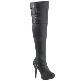 PLEASER PINK LABEL CHLOE-308 Women's Platform Buckle Straps Over Knee High Boots (Option: 14)