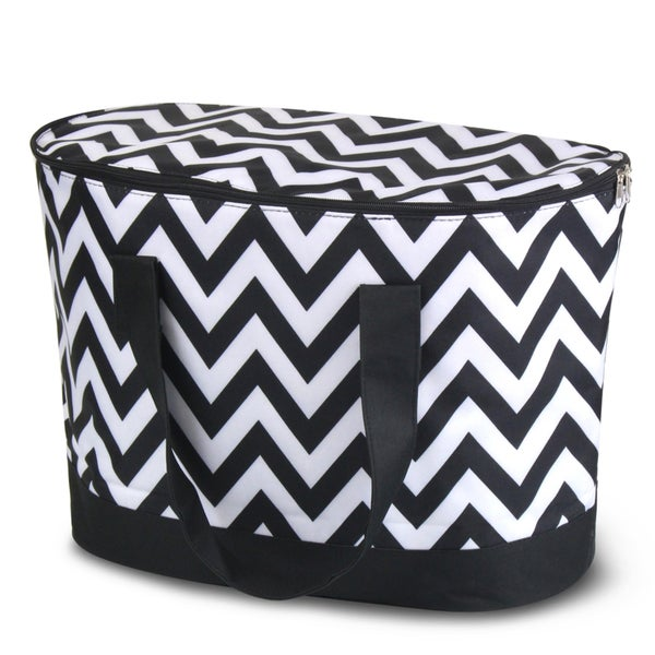 Zodaca Black/ White Chevron Large Pinic Travel Outdoor Camping Party Food Drink Water Storage Zip Cooler Bag