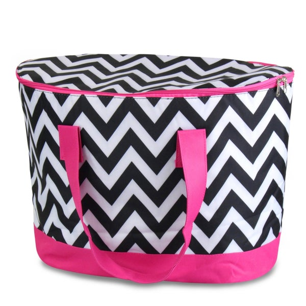 Zodaca Black/ White Chevron with Pink Trim Large Pinic Travel Outdoor Camping Party Food Drink Water Zip Cooler Bag