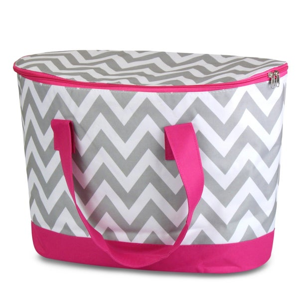 Zodaca Grey/ White Chevron Large Pinic Travel Outdoor Camping Party Food Drink Water Storage Zip Cooler Bag