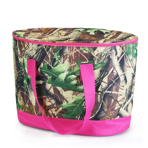 Zodaca Natural Camo with Pink Trim Large Pinic Travel Outdoor Camping Party Food Drink Water Storage Zip Cooler Bag