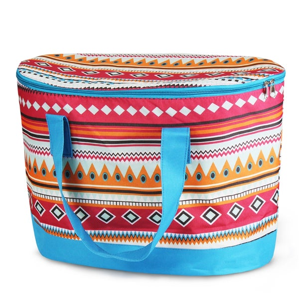 Zodaca Aztec with Blue Trim Large Pinic Travel Outdoor Camping Party Food Drink Water Storage Zip Cooler Bag