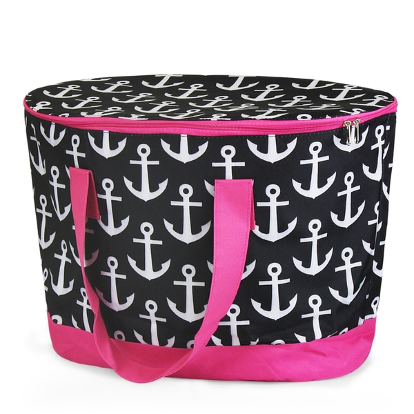 Zodaca Black Anchors with Pink Trim Large Pinic Travel Outdoor Camping Party Food Drink Water Storage Zip Cooler Bag