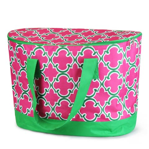 Zodaca Pink Quatrefoil Large Pinic Travel Outdoor Camping Party Food Drink Water Storage Zip Cooler Bag