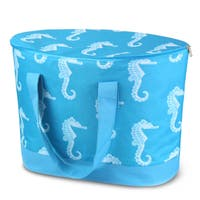 Zodaca Blue Seahorse Large Pinic Travel Outdoor Camping Party Food Drink Water Storage Zip Cooler Bag