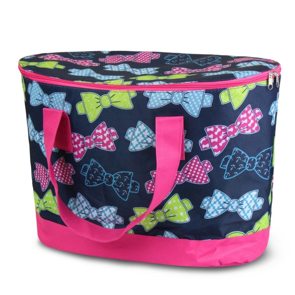Zodaca Multicolor Bows Large Pinic Travel Outdoor Camping Party Food Drink Water Storage Zip Cooler Bag